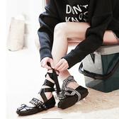芭蕾鞋 與格夏季芭蕾舞鞋復古甜美淺口平底鞋日常蝴蝶結綁帶單鞋女 瑪麗蘇