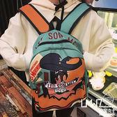 拉面丸子韓版原宿卡通撞色印花涂鴉男女雙肩包學院風書包旅行背包