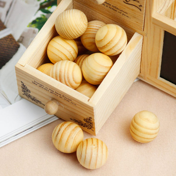 家用香熏木球抽屜衣柜防潮防霉防蛀片 廁所除味樟腦丸替代樟腦球