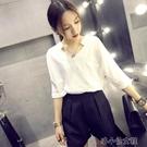 雪纺衫 白色雪紡襯衫女短袖2020夏季新款韓版寬松百搭V領上衣職業裝春裝 洛小仙女鞋