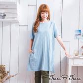 【Tiara Tiara】夏日洋裝 壓印風圓點短袖洋裝(藍/紅)