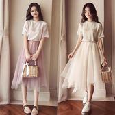 連身裙-夏季連身裙女新款韓版短袖上身兩件套網紗超仙冷淡風套裝裙子【七七特惠全館七八折】