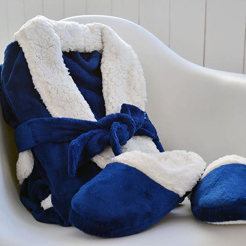 浴袍拖鞋-[妮卡浴袍拖鞋禮盒組30376-深藍]-30376-妮卡-深藍色-(好傢在)
