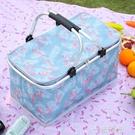春游野餐籃子ins戶外便攜帶蓋買菜籃手提購物籃可摺疊保溫籃冰包 一米陽光