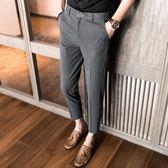 潮流夏季薄款男士休閒褲英倫韓版修身上班西褲小腳9九分褲男青年 【PINK Q】