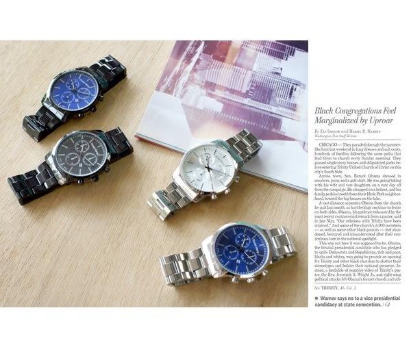 【Daniel Wang】時尚大錶面三眼指針錶-銀 FFQ-3316