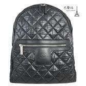 【巴黎站二手名牌專賣店】*現貨*CHANEL 香奈兒 真品*黑色質感菱紋空氣包後背包