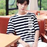 短袖T恤男裝創意款新品男士純棉半袖條紋體恤衫《印象精品》t895