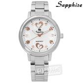 SE Sapphire / SE032L04WR / 雙心浪漫珍珠母貝藍寶石水晶不鏽鋼手錶 白色 31mm