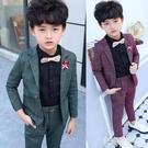 兒童西裝 兒童禮服男童小西裝套裝春秋帥氣男孩英倫西服洋氣寶寶花童三件套 韓菲兒