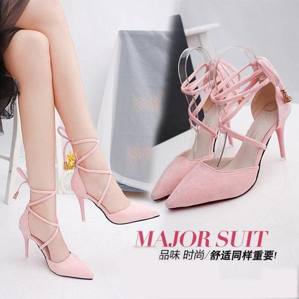 細跟高跟鞋 新款韓版女淺口尖頭鞋細跟綁帶鏤空單鞋百搭涼鞋女JA4003『美好時光』