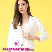 【SHOWCASE】都會女伶愛心釦修身質感西裝外套(白)