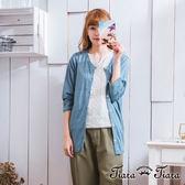 【Tiara Tiara】激安 素面排釦七分袖罩衫上衣(卡其/藍/橘)