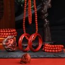 手串 紅瑪瑙手串手錬108顆佛珠項錬配飾散珠圓珠雕刻件男女1【618特惠】