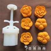 手壓式月餅模具 25-50g可調厚度5瓣梅花形模具 綠豆糕模 igo 薔薇時尚