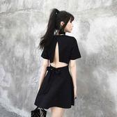 夜店性感女裝夜場洋裝顯瘦氣質露背2018新款夏季酒吧V領小黑裙