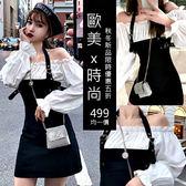 克妹Ke-Mei【AT54971】jazz超辣歐美時髦性感吊頸假二件襯杉式洋裝
