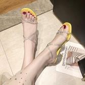 粗跟羅馬涼鞋女仙女風新款高跟鞋 全館免運