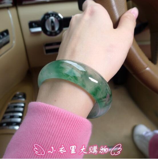 手鐲 天然玉石器翡翠色飄花玉鐲子冰種淺色陽綠手環少女媽媽款 - 小衣里大購物