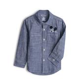 Gap男幼Gap x Disney迪士尼系列棉質舒適翻領長袖襯衫523847-淡雅藍