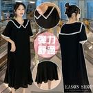 EASON SHOP(GQ0890)韓版法式學院風撞色鋸齒拼接娃娃領翻領短袖傘狀大擺連身裙洋裝女過膝長裙A字裙黑