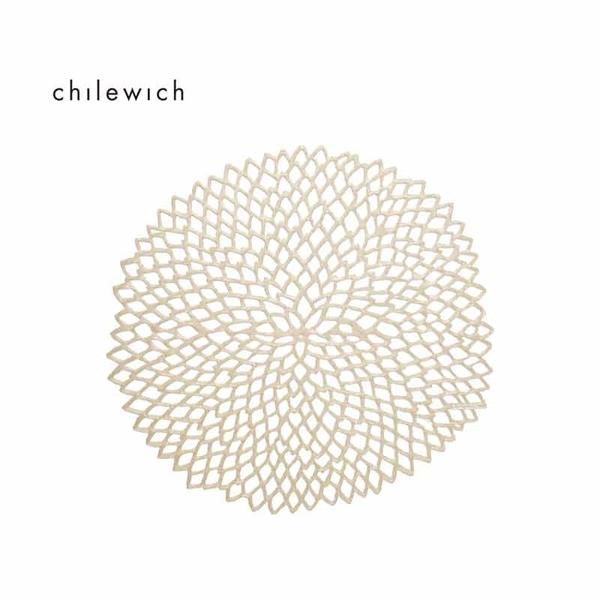 美國Chilewich大麗花Dahlia圓形餐墊36*39cm-香檳金
