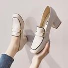 樂福鞋 大東單鞋2021年春秋新款網紅高跟鞋女粗跟小香風皮鞋女英倫樂福鞋