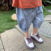 *╮S13小衣衫╭*兒童淺藍軟牛仔泡泡五分褲牛仔褲1080430