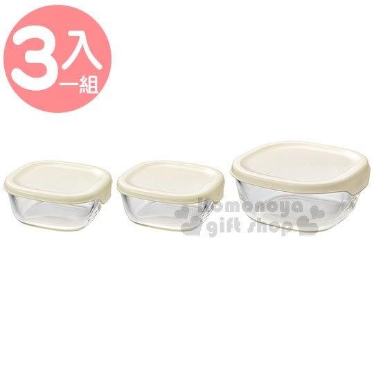 〔小禮堂〕HARIO 日製玻璃保鮮盒組《3入.白蓋.透明.方型》便當盒.可微波 4977642-09216