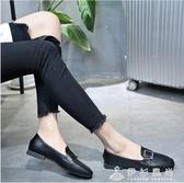 韓版方頭低跟單鞋女春季新款港風粗跟樂福鞋懶人兩穿小皮鞋女   伊衫風尚