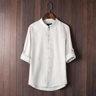 中國風復古潮男裝七分袖亞麻襯衫男士中袖夏季棉麻襯衣寬鬆上衣服 自由角落