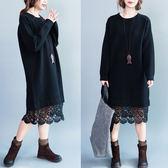 洋裝 連身裙 胖妹妹秋裝新款大碼洋裝遮肚子顯瘦休閒百搭文藝打底蕾絲裙