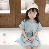 韓系長版字母短袖連衣裙洋裝 連身裙 洋裝 短袖上衣 裙子 童裝