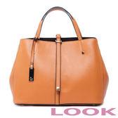 LOOK-Marjorie瑪喬麗-皮帶扣手提包-經典咖