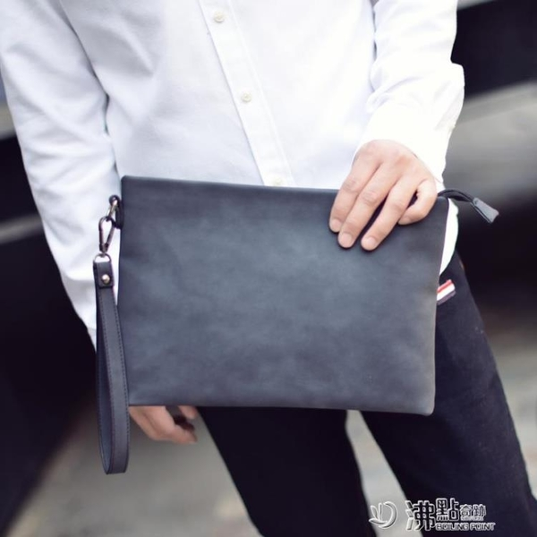 男士手包新款潮韓版時尚大容量個性手拿抓包休閑商務手提信封夾包 沸點奇跡