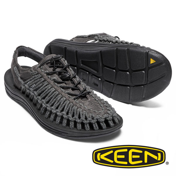 【KEEN 美國】UNEEK LEATHER男拉繩涼鞋『暗灰』1017876 健行 涼鞋 自行車 露營 男版