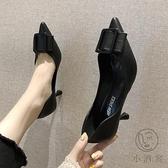 高跟皮鞋女时尚韩版尖頭素色細跟方扣百搭单鞋【小酒窩服飾】