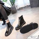 短靴女春秋2018新款時尚前拉鏈粗跟馬丁靴女英倫風學生百搭機車靴