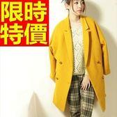 毛呢外套-美麗諾羊毛翻領寬鬆長版女大衣63ae7【巴黎精品】