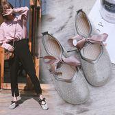 春夏季新款韓版蝴蝶結水鑽豆豆鞋軟底奶奶鞋學生娃娃鞋女單鞋       伊芙莎