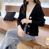 小香風針織開衫外套女短款厚春秋季韓版寬鬆慵懶風V領新款外搭潮