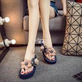 沙灘拖鞋女夏新款坡跟厚底人字拖時尚涼拖鞋外穿百搭韓版海邊 俏腳丫