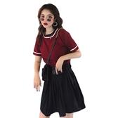 春夏新款韓版女士套裝港味復古上衣短袖T恤百褶短裙半身裙兩件套