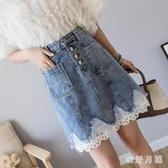 牛仔裙 半身裙女2020春夏新款復古高腰包臀破洞花邊A字裙短裙 JX968【衣好月圓】