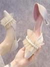 高跟鞋 2021年新款網紗珍珠中空細跟淺口高跟鞋女鞋子平時可穿婚鞋伴娘鞋 歐歐