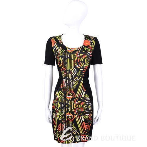 VERSACE 黑色幾何線條印花設計短袖洋裝 1410709-01