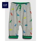 Gap男嬰兒 柔軟恐龍圖案鬆緊腰長褲 489282-亮麻灰色