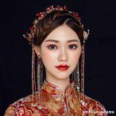 楚楚新娘紅色新娘中式古裝頭飾流蘇水鑽發飾復古婚禮秀禾服配飾