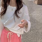 (下殺)簡約韓版白色T恤開叉圓領長袖打底內搭內搭衫【08SG04583】