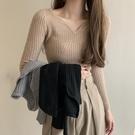 V領毛衣 2020年秋冬毛衣女內搭長袖打底衫修身顯瘦V領針織衫秋季外穿上衣